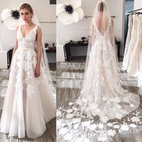 Wholesale Simply Pictures - Simply Style 2017 Backless Plus Size Wedding Dresses Plunging Neckline Appliques Bridal Gowns Floor Length A Line Wedding Gown