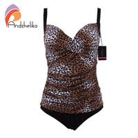 Wholesale Women Leopard Monokini - Andzhelika One Piece Swimsuit Women Dot Leopard Swimwear Vintage Retro Bathing Suits Monokini Swimsuit Plus Size Swimwear