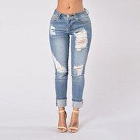 jeans effiloché pour les femmes achat en gros de-Jeans taille moyenne Bleu Jeans slim Jeans effiloché Femmes Bleach Ripped Pantalons skinny Denim pants