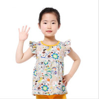 Wholesale Wholesale Ruffled Shirts Toddler - Vintage Baby Girls Tees Cotton Ruffle Sleeve Baby Clothes Floral Printed Girls T-shirts Fashion Girls Shirts Toddler Outfit Top