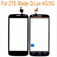 "Wholesale Iphone 3g Glass Digitizer - Wholesale- Black White Touch Screen For ZTE Blade Q Lux 3G 4G 4.5"" Front Glass Digitizer Panel Sensor Glass Lens Replacement"