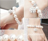 Wholesale Hottest Fashion Accessories - Bridal Accessories Fashion pearl diamond bracelet the bride intertwined spiral bracelets Bridal Jewelry bracelets hot sale for wedding event