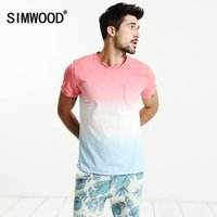 Купить Окрашивание Методом Погружения-SIMWOOD New Summer T Shirt Men 100% Pure Cotton Natural Short Sleeve Slim Fit Funny Dip Dye Fashion Tops TD017006 q170655