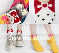 Wholesale Black White Dot Socks - Wholesale-Wholesale retail female lady girl's Soft Cotton Home warm Socks Cute Beautiful Loving sweet dot bowknot 5 color option