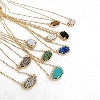 Wholesale Natural Ore - 9 Colors Gold Plating Imitation Ore Natural Stone Pendant Geometric Necklaces for Women Gifts Sweater Chain Pendant