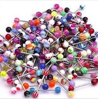 petits ongles en acrylique achat en gros de-Couleur mixte petit gros bijoux de piqûre acrylique langue ongles anti-allergie en acier inoxydable bouton nombril multicolore cheveux mixtes un pac