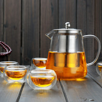 Wholesale Tea Set Stainless - YGS-Y262 Hot Sale Heat Resistant Glass Kettle Teapot Flower Tea Set Pu'er Coffee Tea Pot Drinkware Set Stainless Steel Strainer