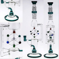 Wholesale Cool Unique - Hunter Green Inline-Cube Glass Bongs Top Quality Oil Rigs Water Pipes 2017 Latest Cool Fashion Unique Designed Smoking Bongs Glass Hookahs
