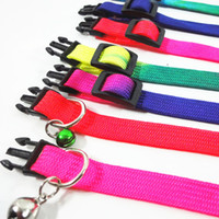 Wholesale Wholesale Rainbow Nylon Dog Collars - Pet Collars With Bell Dog Cat Leash Traction Strap Pets Rainbow Dogs Necklace for Cats Durable Portable Collars for Pets Six Colors