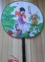 Wholesale Silk Embroidery Crafts - Round Large Chinese Silk Palace Handle Fan Party Favor Unique Women Crafts Gift Hand Fans Ethnic Dance show Props
