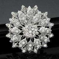 Wholesale Flower Bouquet Jewelry - Luxury Rhinestone Pin Brooch Bridal Flower Corsage Clear Crystal Wedding Bouquet Brooches Pins Breastpin for Men Women Wedding Jewelry