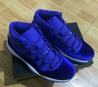 Wholesale Boys Size 11 - kids Big boy shoes Retro 11 Velvet Heiress blue Grey Suede Basketball Shoes Spaces Jams 11S XI Authentic Sports Shoes 36-47