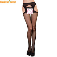 Wholesale Sexy Pantyhose Design - Wholesale- Newly Design Sexy Women Lingerie Black Net Lace Top Garter Belt Thigh Stocking Pantyhose Aug20