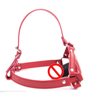 Wholesale Leather Harness Dildo - Sex Toy Leather Mouth Gag BDSM Head Harness Dildo Deep Throat Sexual Play Ball Gags Penis Gags Red Color New Design