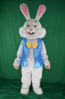 traje de coelho de páscoa venda por atacado-2017 novo traje da mascote do coelhinho da páscoa vestido extravagante animais engraçados bugs coelho mascote tamanho adulto traje da mascote do coelho