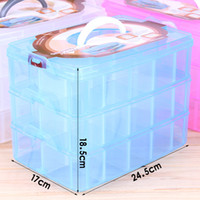 Wholesale Three Tier Boxing - 2017 Free Shipping,Large three-tier detachable, transparent plastic box to receive arrange make-up box jewelry box