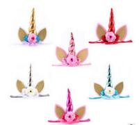 çiçek kafa bandı ağ toptan satış-Altın boynuzlu parti hayvan headbands ile YENI çocuk Unicorn bantlar çocuk çiçek tül net kafa bandı