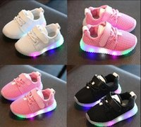 Wholesale Outdoor Led Dmx - New Led Light Sneakers Fashion Children Shoes Kids Shoes Luminous Glowing Sneakers Baby Toddler Boys Girls Shoes LED EU 21-25