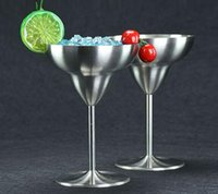 Wholesale Martini Cups - Summer Promotion Cocktail Glasses Stainless Steel Wine Cup Champagne Wedding Martini Cup whiskey Goblet Cocktail Wine Cup OOA1796