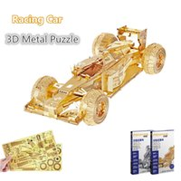 Wholesale Toy Animal Racing - PieceCool 2 Colors Racing Car 3D Lase Cut Metal Puzzle DIY 3D Nano Assembly Jigsaw Model Educational Toys for Children