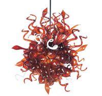 roter murano glas-kronleuchter großhandel-Chihuly Stil rot Glas Kronleuchter Wohnzimmer Dekor rot Murano Glas Kristall dekorative LED hängen benutzerdefinierte Kronleuchter