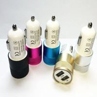 Wholesale Iphone Car Chargers Colors - Dual USB Car Charger Mini Dual Metal Car Charger Adapter 5V 2A 2 Ports Universal Car Plug 7 Colors For Samsung S8 iPhone 7