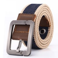 Wholesale Cowboy Buckles Wholesale - 2017 wholesale Real Solid brand Belt for Men Cinto men's Fashion Pin Buckle Canvas cowboy knitted Strap Casual Striped belt
