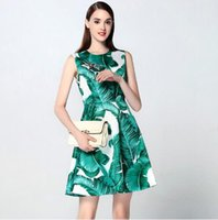 Nuovo 2017 estate donne di modo pista verde Banana Leaf Dress Stampa casuale animale sveglio perline maniche Mini abiti JC42