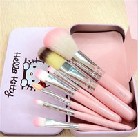 Wholesale New Kitty - New Hello Kitty Sweet pink black 7 Pcs Mini Makeup brush Set cosmetics kit de pinceis de maquiagem make up brush Kit with Metal box