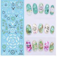 Wholesale Merry Christmas Nail - Christmas Water Transfer Nails Art Sticker Merry XMAS Nail Wraps Sticker Watermark Fingernails Decals 50pcs lot free shipping