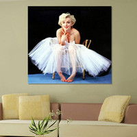 Wholesale Marilyn Monroe Oil Canvas - Single Unframed Marilyn Monroe Wedding Dress Oil Painting On Canvas Giclee Wall Art Painting Art Picture For Home Decorr