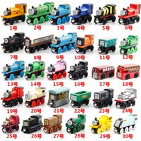 Wholesale Wholesale Wooden Train Tracks - Wooden Mini Trains and Tracks Cartoon Toys Magnetic 53 Styles Train Friends Wooden Trains & Car Toys Best Christmas Gifts DHL Free Shipping