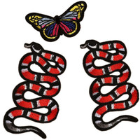 Wholesale Embroidery Butterfly Patch - 3 pcs Animal snake cheongsam accessories DIY butterfly embroidery cloth stickers cute children sewing clothes patch bags hat decoration