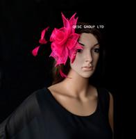 fucsia NEW hot pink piccolo cappello Sinamay Faciantor con piume per la  cerimonia nuziale 6cfed16c5e0d
