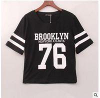 Wholesale Dance Cropped T Shirt - Women T-shirts Cropped Summer Ladies Sexy Brooklyn 76 Letter Print Top Tee Short Sleeve Crop Tops Punk Hip Hop Dance T Shirt Tops