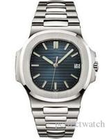 Wholesale transparent wrist watch men - Luxury Brand Mens Watch Nautilus PP Sky moon Automatic Mechanical Stainless Steel Transparent Back Blue Dial Men Watches Dive Wrist watch