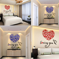 Wholesale Love Heart 3d Stickers - 3D Mirror Acrylic Wall Stickers Glitter Love Heart Home Removable Sticker Home Decor DIY