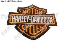 "Wholesale Wholesale Chest Vest - 3"" Motor cycles Orange Embroidered Iron On Patch Logo Hot Rod Drag race Tattoo MC patches Biker Vest Jacket back chest transfer"