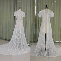 Wholesale Sheer Wedding Shawl - Gorgeous 2017 Wedding Cape Real Picture Sheer Lace Long Bridal Jackets Short Sleeves Wedding Dress Over Coats with Train