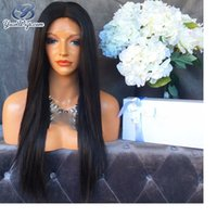 7A Grade Full Lace Wigs Natural Preto Straight Sintético Lace Front Cabelo Humano Perucas Mode Long Black Straight With Female