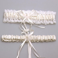 Wholesale Ivory Wedding Bridal Garter - Sexy New 2017 Bridal accessory satin lace ivory pink blue garter silk ribbon floral pearl wedding decoration garter free shipping CPA281