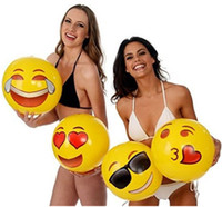 "Wholesale Family Swimming Pools - Emoji Beach Ball For Adults Kids Inflatable PVC 12"" Family Holiday Summer Party Favors Swimming Pool Toys DHL Free Shipping"