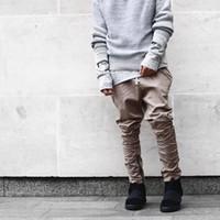 pantalon homme sarouel noir achat en gros de-Nouvel été justin bieber noir / vert / kaki côté décontracté fermeture à glissière sarouel hommes jogger mens combinaison de club porter taille 30-36 livraison gratuite