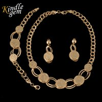 Wholesale Dress Jade Color - Fashion Dubai Women Gold Color Coin Jewelry Set Necklace Earrings Bracelet Sets Bridal Party Costume Dress Accessories