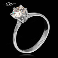 Wholesale Diamond Ring Solitaire Princess - Six Claw CZ Diamond Princess Cut Wedding Rings Silver Color Platinum Cubic Zirconia Crystal Engagement Jewelry For Women Girls Gift DFR013