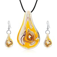 Wholesale Lampwork Glass Pendant Earring Sets - Fashion Jewelry Sets Mix Twisted Lampwork Glass Murano Inspiration Pendants Necklace and Earrings Jewelry Sets for Women