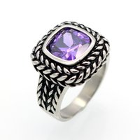 Wholesale Male Ring Black Titanium - Fashion Brand AAA Zircon Jewelry Titanium Steel Size 6 to 12 Male Or Female Black Antique Crystal Rings Men Women Finger Ring
