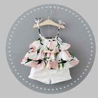 Wholesale Summer Baby Girls Clothing - Baby Girls Ruffle Lemon Print Braces Top Set with Pants 2017 Summer Kids Boutique Clothing Little Girls Short Braces Dresses 2 PC Set