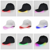 Wholesale Baseball Caps Led Lights - LED Baseball Caps Cotton Black White Shining LED Light Ball Caps Glow In Dark Adjustable Snapback Hats Luminous Party Hats OOA2116