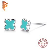Wholesale Enamel Fashion Jewelry Earrings - BELAWANG Authentic 925 Sterling Silver Pink&Blue Enamel Lucky Four Leaf Clover Stud Earrings For Women Girl Fashion Earring Jewelry Gift